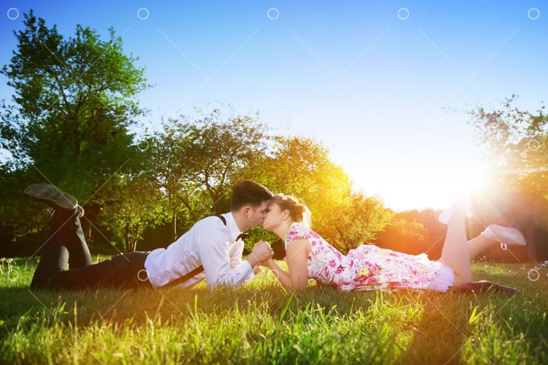 Lying in the grassland